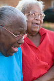 Gelukkige rijpe Afrikaanse Amerikaanse en zusters die lachen glimlachen stock foto