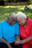 Gelukkige rijpe Afrikaanse Amerikaanse en zusters die lachen glimlachen stock fotografie