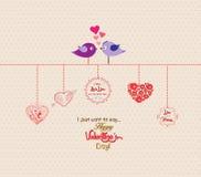 Gelukkige romantische het paarvogel van de valentijnskaartendag Royalty-vrije Stock Afbeelding