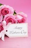 Gelukkige Roze de Rozenachtergrond van de Moedersdag stock afbeelding