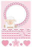 Gelukkige roze het plakboekreeks van babyschapen Royalty-vrije Stock Afbeelding