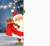 Gelukkige Santa Claus die zich achter een leeg teken bevinden, die op groot leeg teken tonen Het karakter van beeldverhaalsanta c vector illustratie