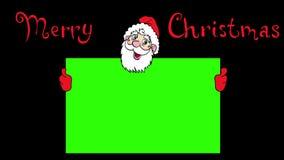 Gelukkige Santa Claus over groene spatie 4K animatie royalty-vrije illustratie