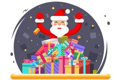 Gelukkige Santa Claus Shopping Pile Goods Christmas-Vlakke Giftendozen royalty-vrije illustratie