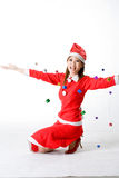 gelukkige santa dalende giften Stock Foto's