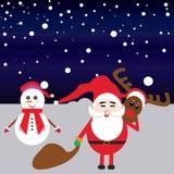 Gelukkige santa en sneeuwmanillustratie Stock Afbeeldingen