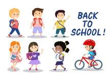 Gelukkige schooljonge geitjes op witte achtergrond, vectorillustratie Stock Foto's