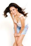 Gelukkige Aziatische meisjes volgende deur Royalty-vrije Stock Fotografie