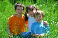 Gelukkige siblings in weide royalty-vrije stock foto's
