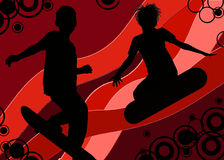 Gelukkige skateboarders Stock Foto's