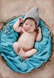 Gelukkige slaap in een mand pasgeboren baby stock afbeeldingen