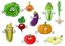 Gelukkige smakelijke beeldverhaal geïsoleerde groenten Royalty-vrije Stock Afbeeldingen