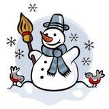 Gelukkige sneeuwman met twee kleine vogels kleurrijke illus Royalty-vrije Stock Fotografie