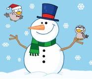 Gelukkige sneeuwman met vogels vector illustratie