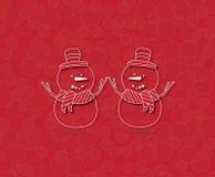 Gelukkige Sneeuwman twee op rode achtergrond Stock Afbeelding