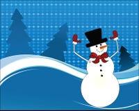 Gelukkige sneeuwmanwapens in de lucht Royalty-vrije Stock Afbeeldingen