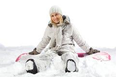 Gelukkige snowboarder Stock Foto