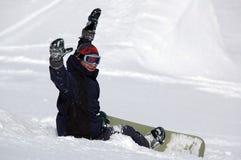 Gelukkige snowboarder Stock Afbeeldingen