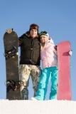 Gelukkige snowboarders Royalty-vrije Stock Afbeelding