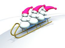 Gelukkige snowmans Stock Foto