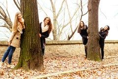 Gelukkige speelse vrienden, de herfst, de winter Royalty-vrije Stock Afbeeldingen