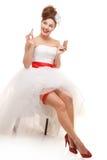Gelukkige speld-omhooggaande bruid Royalty-vrije Stock Foto
