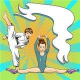 Gelukkige sportieve kinderen in retro vector van het gymnastiekpop-art royalty-vrije illustratie