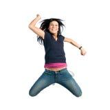 Gelukkige springende jonge vrouw Royalty-vrije Stock Afbeeldingen