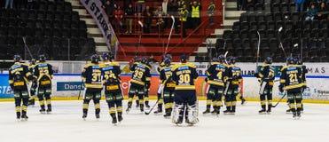 Gelukkige SSK spelers nadat zij de Ijshockeygelijke met 3-2 in hockeyallsvenskan tussen SSK en MODO wonnen stock foto