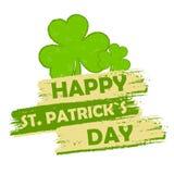 Gelukkige St Patrick dag met klavertekens, groene getrokken banner Royalty-vrije Stock Afbeelding