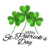 Gelukkige St Patricks dag De kaart van de groetuitnodiging Drie Klavers van klavers Kalligrafische decoratieve zwarte tekst Grafi Stock Afbeelding