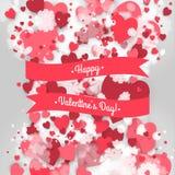 Gelukkige St Valentine Dag! Abstracte achtergrond met lint en vliegende sneeuwvlokken en harten aan de Dag van St Valentine Stock Fotografie