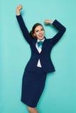 Gelukkige Stewardess Cheering royalty-vrije stock afbeeldingen