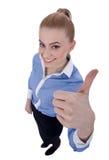 Gelukkige succesvolle bedrijfsvrouw die o.k. teken maakt stock foto's