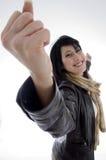 Gelukkige succesvolle vrouw stock fotografie