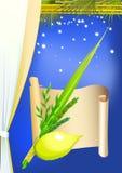 Gelukkige Sukkot met palmen, sterren royalty-vrije illustratie