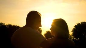 Gelukkige teruggetrokken echtgenoot die elkaar, het besteden tijd samen in zonsondergangpark kijken stock foto's