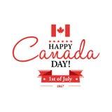 Gelukkige 1th van de Dagkaart of achtergrond van Juli Canada met Esdoornblad Royalty-vrije Stock Fotografie