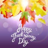 Gelukkige Thanksgiving dayachtergrond met Glanzend Autumn Natural Leaves Vector illustratie Stock Afbeelding