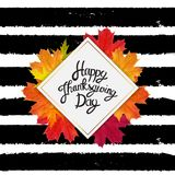 Gelukkige Thanksgiving dayachtergrond met Glanzend Autumn Natural Leaves Vector illustratie Stock Foto's