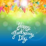 Gelukkige Thanksgiving dayachtergrond met Glanzend Autumn Natural Leaves Vector illustratie Royalty-vrije Stock Afbeelding