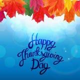 Gelukkige Thanksgiving dayachtergrond met Glanzend Autumn Natural Leaves Vector illustratie Royalty-vrije Stock Foto's