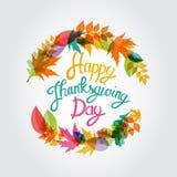 Gelukkige Thanksgiving dayachtergrond met Glanzend Autumn Natural Leaves Vector illustratie Stock Foto