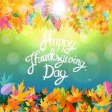 Gelukkige Thanksgiving dayachtergrond met Glanzend Autumn Natural Leaves Vector illustratie Stock Afbeeldingen