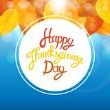 Gelukkige Thanksgiving dayachtergrond met Glanzend Autumn Natural Leaves Vector illustratie Stock Fotografie