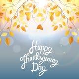 Gelukkige Thanksgiving dayachtergrond met Glanzend Autumn Natural Leaves Vector illustratie Royalty-vrije Stock Fotografie