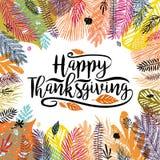 Gelukkige Thanksgiving dayillustratie met veelkleurige in de herfstachtergrond Groot ontwerpelement voor gelukwens royalty-vrije stock fotografie