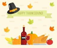 Gelukkige Thanksgiving daykaart Dankzeggings vlakke illustratie Stock Afbeelding