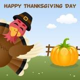 Gelukkige Thanksgiving daykaart met Turkije Stock Fotografie