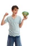 Gelukkige tiener met contant geld stock foto